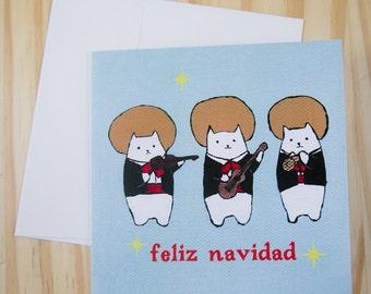 "CARD: ""Feliz Navidad"" featuring the Meowriachi Band"