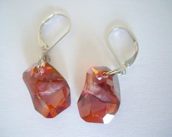 Red Swarovski Earrings, Swarovski Divine Rock Earrings, Red Magma Swarovski Earrings, Swarovski Jewelry