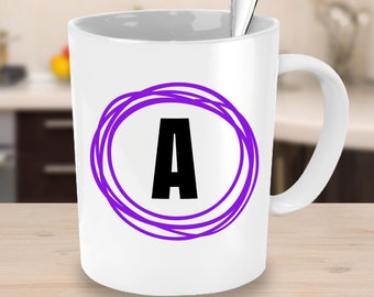 Personalised Initial Coffee Mug with Doodle Circle Design in Purple - Monogram Letter Mug - Gifts under 25 Gifts for Her Him Custom Mug