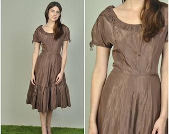 1950s Chocolate Taffeta Party dress | vintage 1950s dress | taffeta 50s party dress