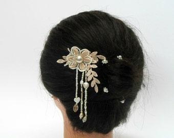 Pearl wedding hair comb bridal lace hair piece for wedding, leaf hair comb, pearl hair comb,lace hair comb,flower hair comb,bride hair piece