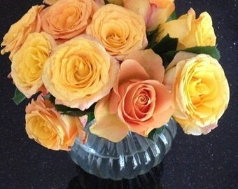 Blank Greeting Card 5: (happy birthday cover) Bouquet of Peach Roses