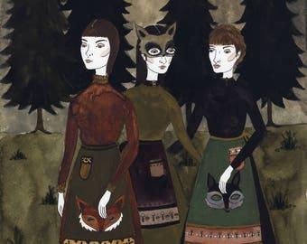 Woodland Masquerade Original Art Print