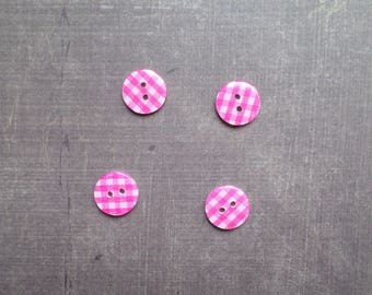 gingham pink 1.3 cm 40 buttons