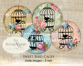 Sweet Bird Cages - Circle micro slides - 2 inch circles - digital collage sheet - pocket mirrors, tags, scrapbooking, cupcake toppers