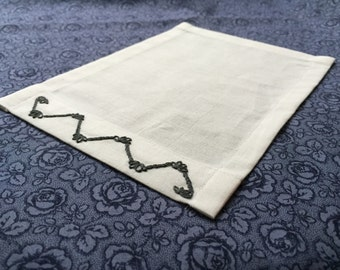 """6"""" x 8"""" Hand Embroidered Apron Pocket - Charcoal Whimsy"""