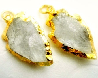 Arrowhead Arrow Head Pendant, Crystal Quartz, 24k Gold Electroplate Border, Hammered Crystal Quartz, 25-30mmx20mm