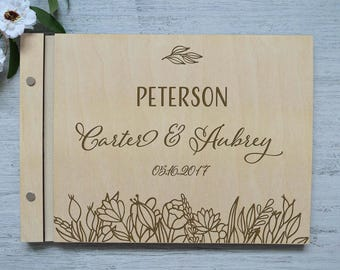 Unique wedding guest book alternatives, Last name guestbook, Large wedding guest book, Personalized albums, Personalized Wedding Gift wooden