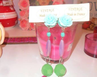 Dangling gemstone earrings with clips