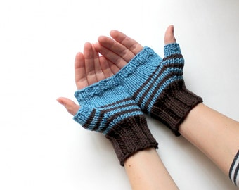 Fingerless Gloves, Blue Arm Warmers, Texting Gloves, Fingerless Mittens, Wrist Warmers, Hand Warmers, Blue Winter Gloves, Knit Wrist Warmers