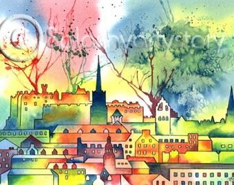 CITY OF EDINBURGH Scotland art print of original watercolour painting Scottish landscape heritage cities watercolor