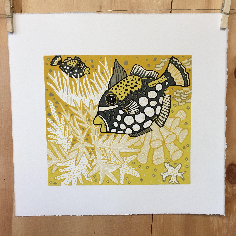 Payment Plan, Coral reef, tropical fish, woodcut print, block print ...