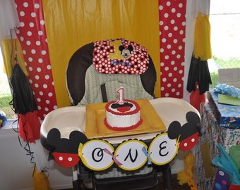Mickey Mouse club house high chair age birthday banner