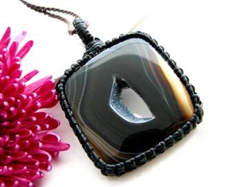 Sardonyx Necklace, Sardonyx jewelry, Gift daughter, Gift for daughter, Wife gift, Gift for wife,  Macrame pendant , Heal crystal stone,