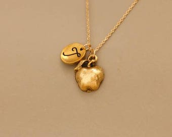 Gold apple necklace etsy apple necklace gold apple necklace apple charm necklace apple pendant necklace apple necklace for teacher cute necklace aloadofball Image collections