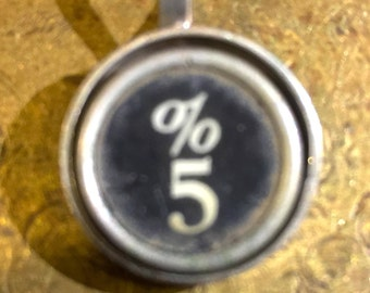 5 and percentage sign Typewriter Key Pendant