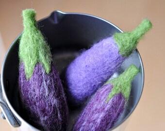 Play food Purple Eggplant Set of 3-Felted Vegetable