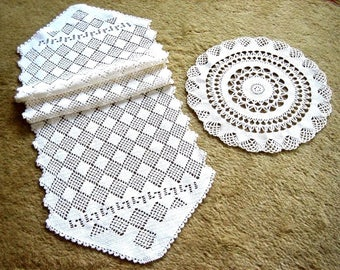 HAND CROCHETED Lace Dresser Runner Bureau Scarf Cotton Tablecloth PAIR Ivory White Point