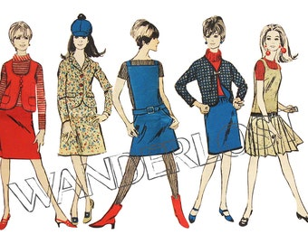 Clip Art 1960's Mod Girls Illustration Dress Pattern Fashion Design Digital