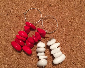 red & white stack earrings