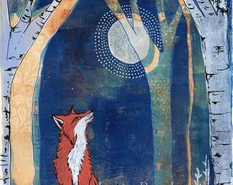 Woodland Fox and Moon - Art Print