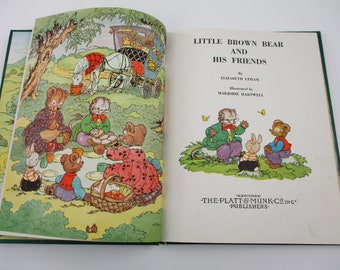 Little Brown Bear and his Friends by Elizabeth Upham Illustrated by Marjorie Hartwell, Vintage Children's Book, Kids Book, Cute Animal Story