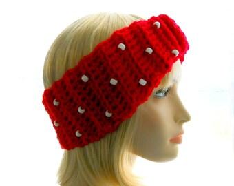 Beaded Red Wool Headband, Women's Crochet Earwarmer, Medium to Large Size