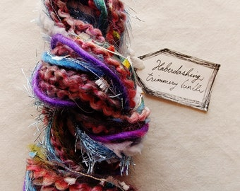 Rose Nebula purple blue pink trim mix tinsel flag pom twine Novelty Fiber Yarn Sampler Bundle
