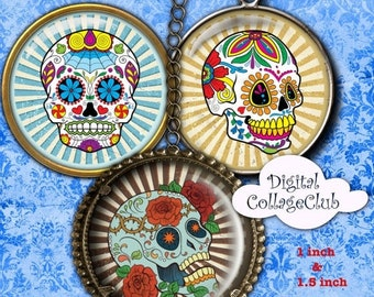 80% Off Spring Sale Sugar Skull 1 inch Digital Collage Sheet 1 inch and 1.5 inch Images for Bottle Cap Bottlecap Images for Jewelry Round Ci