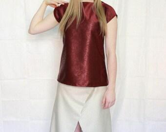 Beige shimmery diamond pattern, wrap skirt, full length