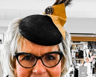 Black & yellow leather pheasant feather hat