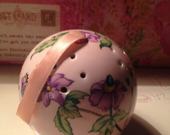 Vintage Pink Fine Bone China Wild Lilacs and Lavender  Pomander Ball Potpouri
