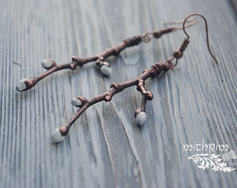 Spring branch earrings and pendant, jewelry set, willow earrings, electroforming, nature jewelry, bohemian branch earrings and necklace, eco