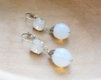 Opaline Earrings - Rhinestones and Opaline