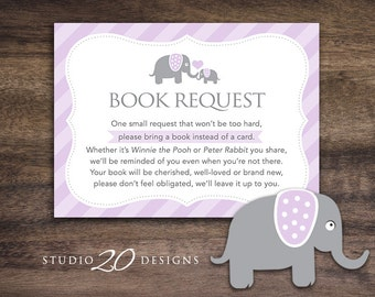 Instant Download Lilac Elephant Book Request, Purple Elephant Book in Lieu of Card, Lavendar Elephant Baby Shower Book Instead of Card 22E