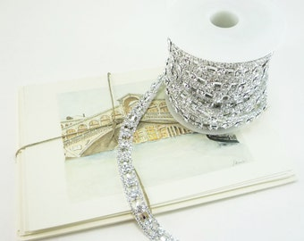 Silver Rhinestone Chain, Wedding Rhinestone Trim, Rhinestone Applique, Clear Crystal Trim,10mm ( 5 Yard Roll)