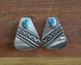Navajo Tommy Singer Large Sterling Silver and Turquoise Earrings