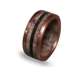 Deer Antler Ring with Patina Copper and Dinosaur Fossil Inlays