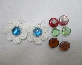 White Rose Earrings MIX