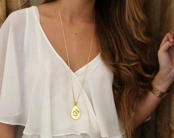 Ohm Necklace, 14k Gold Necklace, Long Necklace , Long Necklace, Yoga Jewelry
