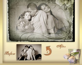 2 Old Photo Effect Frames Vol. 3  - Frames-Overlay  - Digital Frames for Scrapbooks and Photos - Picture Frames - Instant Download png files