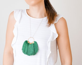 Mother Gift Mother's Day Gift Mom Gift Green Tassel Necklace Gold Necklace Statement Necklace Statement Jewelry Boho Necklace/ ROSARIA