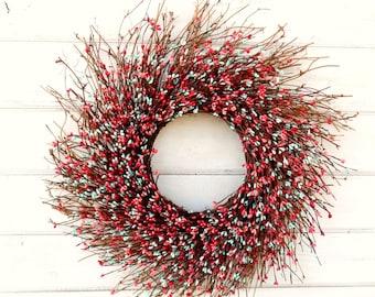 Spring Wreath-Easter Decor-Childrens Bedroom Decor-Baby Shower Wreath-Wedding Decor-CORAL & TEAL TWIG Wreath-Scented Wreath-Girls Bedroom