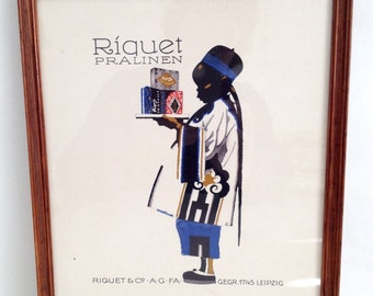 Framed 1926 Ludwig Hohlwein Colour Lithograph, Original Confectionery 'Praline' Company Poster, Vintage Frame