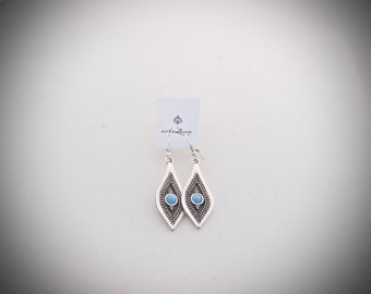 Earrings with turquoise  stone in the middle, made from stainless steel.