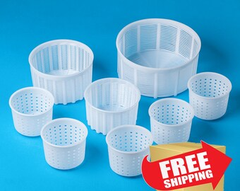 Set of 8 Assorted Molds for Cheesemaking.Universal molds for Soft & Fresh Cheese