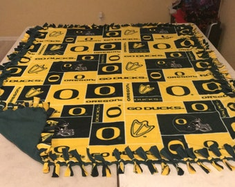 Oregon Ducks hand tied fleece blanket