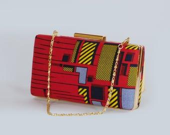 African print red clutch bag set Ankara clutch bag Box clutch Tribal clutch bag, Custom made Bag Clutch Bag Accessories Gift