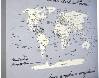 Custom map with push pins, cool gift for couples, US Or world map personalized, push pin, map for push pins, unique world map art push pin