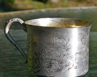Antique Carlton Silver Plate Baby Cup with Musical Cats